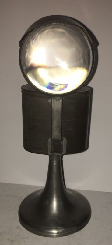 RARE Magnifying Lens Pewter Whale Oil Lamp 1820
