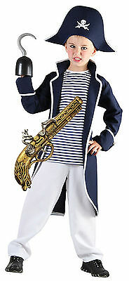Boys Kids Childs PIRATE Fancy Dress Costume Outfit Captain Hook WITH GUN 4-12