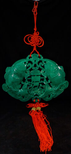 Chinese Feng shui 風水 Wall Hanging with Goldfish Green Resin & Braided Red Cord