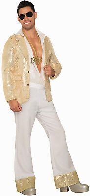 Mens White Disco Pants w/ Gold Sequin Trim 60's 70's Medium Fits to a 34