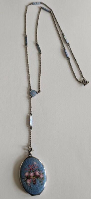 Antique Sterling Guilloche Enamel Flower Basket Locket Pendant Necklace