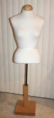 Female Half Dress Form Table Display Mannequin W Wood Base Adjustable Height 50