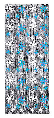 Snowflake Gleam N Curtain Silver With Blue & White Christmas Decoration Beistle