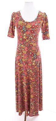 NWT Lularoe Ana Candyland Floral Print Long Maxi Dress Unicorn Pink Sz Small