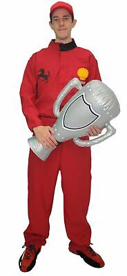 Adults Unisex Red F1 Racing Car Driver Suit & Hat Fancy Dress Costume](Mens Race Car Driver Costume)