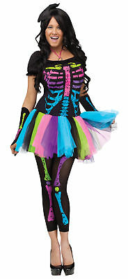 Funky Punk Bones Adult Women's Costume Colorful Skeleton Fancy Dress Halloween