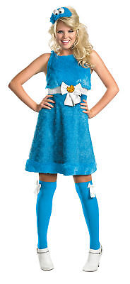 Cookie Monster Sassy Adult Female Costume Blue Plush Fancy Dress Disguise