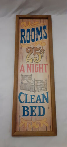 Vintage Wood Wall Sign Rooms 25 Cents A Night Clean Bed Americana 70s Retro Bar