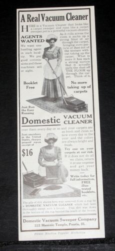 1911 OLD MAGAZINE PRINT AD, DOMESTIC VACUUM CLEANER, YOU TRY ONE AT OUR RISK!