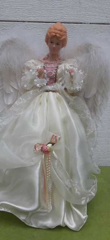 Vintage white angel tree topper Christmas tree holiday ceramic face hands