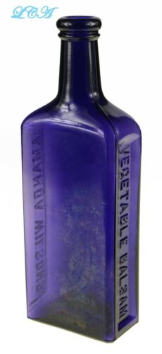 LARGE antique AMANDA WILSON'S VEGETABLE BALSAM compound FEMALE tonic bottle