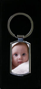 Personalised Keyring Metal Custom Photo Printed complete with Gift box