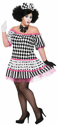 Clown Costume Plus Size (Harlequin Tiers Of A Clown Black White Womens Adult Plus 18-22 Halloween)