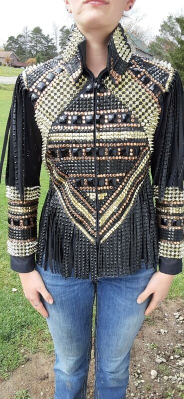 A-List Day Jacket Gold/Black/Fringe Lots of Bling Size Small.