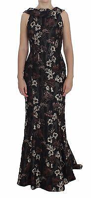 Dolce & Gabbana Vestido Negro Floral Jacquard Funda Vestido IT40/US6/S