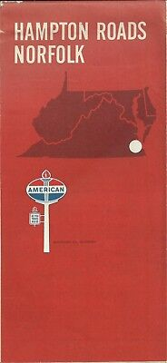 American Oil Company Vintage 1967 Hampton Roads and Norfolk Virginia Map