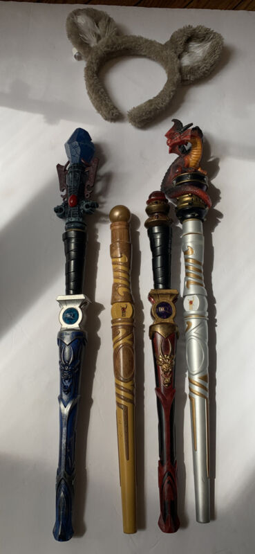 Lot Of 4 Magiquest Wands Topper For Great Wolf Lodge Dragon , Gem, Black And Red