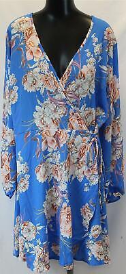 Boohoo Women's Plus Floral Print Wrap Woven Dress GS2 Blue Size US:18 NWT