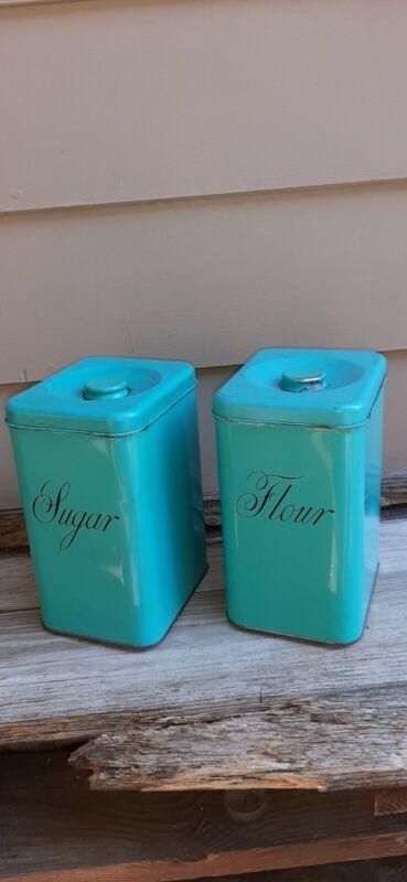 Vintage 50s Harvell & Kilgore Teal Blue /turquoise Tin Cannisters Flour/Sugar