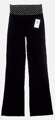 NWT Femme First Womens Polka Dot Print Fold Over Waist Yoga Pants Black S or M