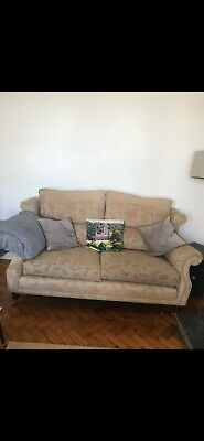 Lovely vintage style sofa and 2 high back chairs, gold and beige.