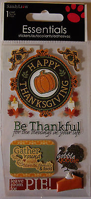 NEW 8 pc HAPPY THANKSGIVING Thankful Pie Turkey SANDYLION ESSENTIALS - Thankful Turkey Craft
