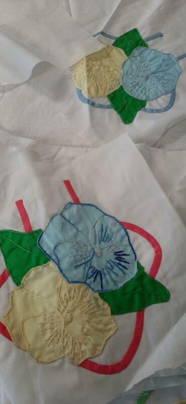 Vtg unfinished Hand Appliqued Quilt Top Blocks  Flower Design