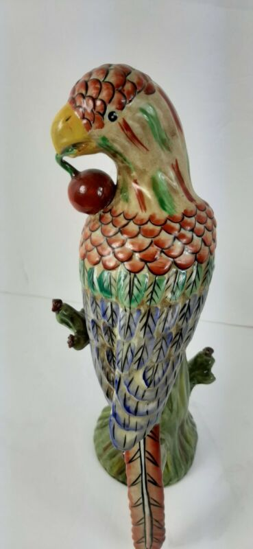 """VINTAGE LARGE 12.5"""" Tall CERAMIC POTTERY PARROT FIGURINE PERCHED ON TREE MINT"""