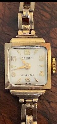 Vintage Gold Hallmark Ladies Bernex Wristwatch 17 Jewels Swiss