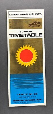 LIBYAN ARAB AIRLINES TIMETABLE APRIL 1974 ISSUE NO.32  ROUTE MAP