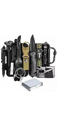 Lanqi 15 Pieces Survival kit, Professional Emergency Camping Gear, Outdoor