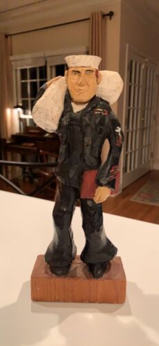 Vintage 1968 Wood Hand Carved Painted Marine Navy Seal By Artist Lw Lambert - $40.00