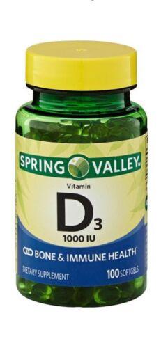 Spring Valley D3 Vitamin Supplement Softgels, 1000 IU, 100 c