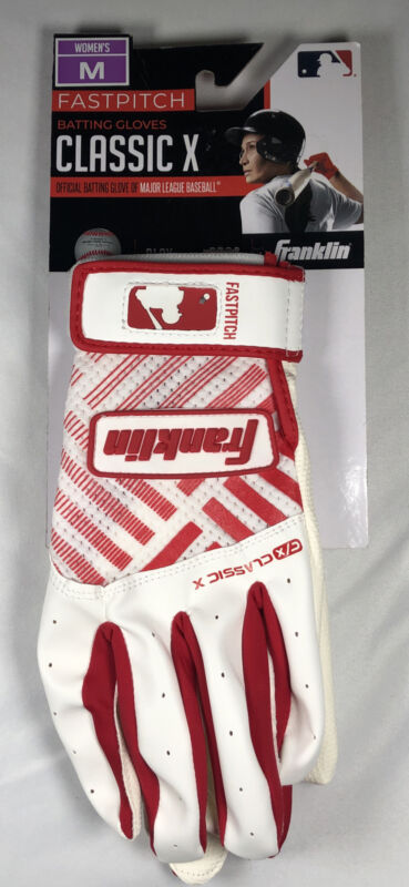 Franklin Fastpitch Batting Gloves Classic X Red & White Women