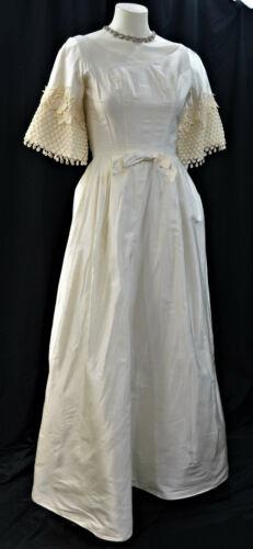 Bridal Original Lace Ivory Wedding gown taffeta detach train dress XS S VTG 60s