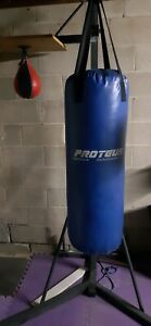 Boxing bag stand with bags