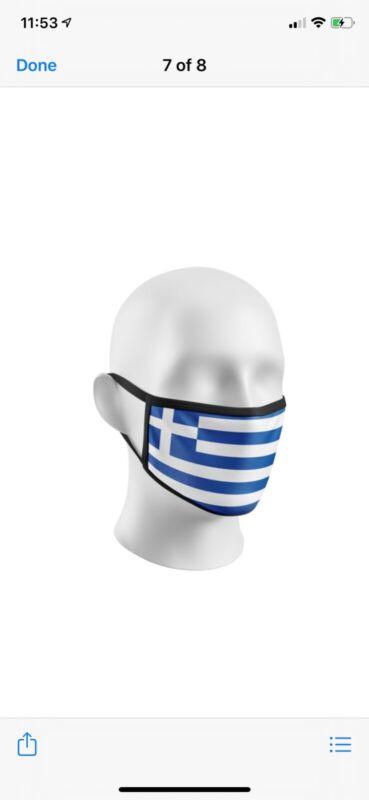 Face Mask Greek flag design ..Cotton Washable reusable.