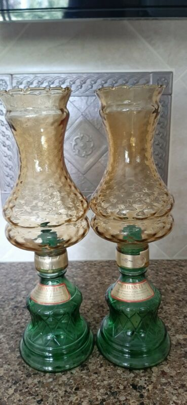 Vintage Chianti Candle Lamps Glass Wine Decanters Pair Italy