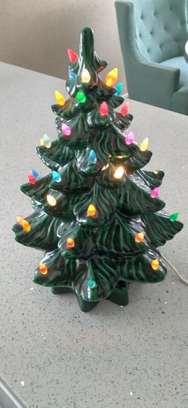 "Vintage 12 "" Ceramic /Green/ Lighted Christmas Tree"