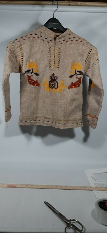 Vintage Hand Knit made COWICHAN SWEATER Heavy Kids child
