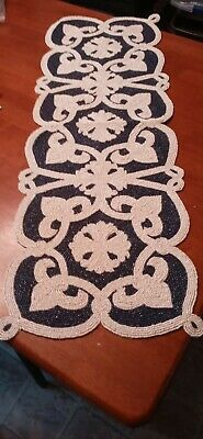 "Beaded Navy Blue Ivory Scroll Floral Design Handcrafted Table Runner 13""X36"" NEW"