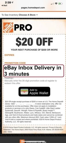 One 1X Home Depot $20 off $200 In-Store Only-1Coupon --Super-FAST-3MINS__
