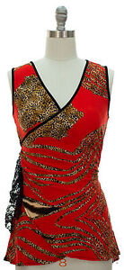 Womens Animal Print Surplice Top Tunic Front Wrap Ruched Waist Pick Color & Size