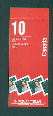 Canada 1995 10 x 45c Queen Elizabeth 1362a coated paper Booklet