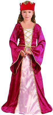 Mittelalterliches Königin-Kinderkostüm für Mädchen rot-pink-goldfarben - Mittelalterliche Kostüme Kinder