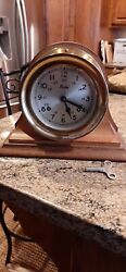 Vintage Boston Model Chelsea Brass Ship's Bell Wardroom Clock w/Wood Stand