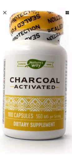 Activated Charcoal 100 Caps Nature's Way 560 Mg Free Fast