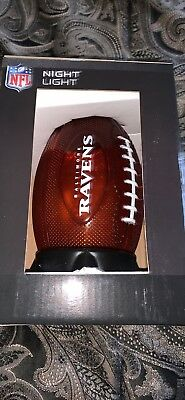NFL Baltimore Ravens Football Shaped Night Light New In Box 100% -