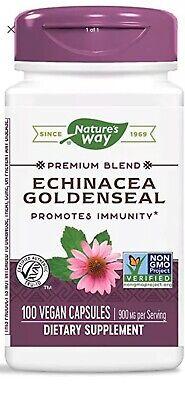 Natures Way Echinacea Goldenseal Premium Immunity Blend 900 mg  100 Cp Fast Ship Echinacea Goldenseal Capsules