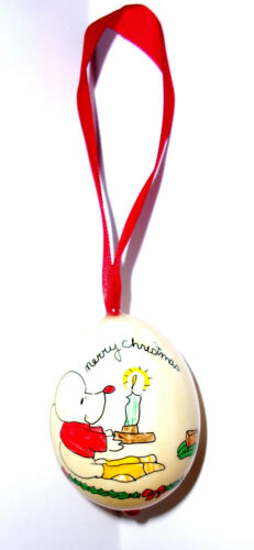 1979 hand painted Lynn Oden egg shape Christmas ornament mice decorating candle